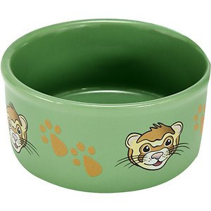 Kaytee Paw Print Small Animal Food & Water Bowl, Color Varies, Ferret; The fun and fashionable Kaytee Paw Print Small Animal Food & Water Bowl lets your small pets eat in style. This heavy-duty dish is hard for pets to knock over, and it's made from high-quality ceramic. It's also chew-proof, so it's sure to last through many feedings. The Kaytee Paw Print bowl features a repeating pattern of paw prints and friendly animal faces. You can choose between a bunny, ferret or guinea pig design.