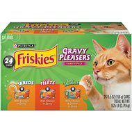 Friskies Gravy Pleasers Variety Pack Canned Cat Food, 5.5-oz, case of 24