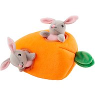 ZippyPaws Burrow Squeaky Hide and Seek Plush Dog Toy, Bunny 'n Carrot, Puzzle Set