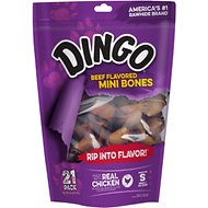 Dingo Mini Meat in the Middle Beefy Flavor Rawhide Dog Chews, 21 count