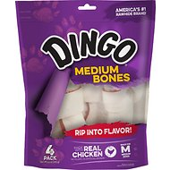Dingo Medium Meat in the Middle Chicken Flavor Rawhide Dog Bone, 4 count