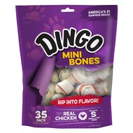 Dingo Mini Meat in the Middle Dog Rawhide Chews, 35 count