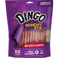 Dingo Munchy Stix Chicken in the Middle Dog Rawhide Chews, 50 count