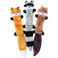ZippyPaws Skinny Peltz No Stuffing Squeaky Plush Dog Toys, 3-pack