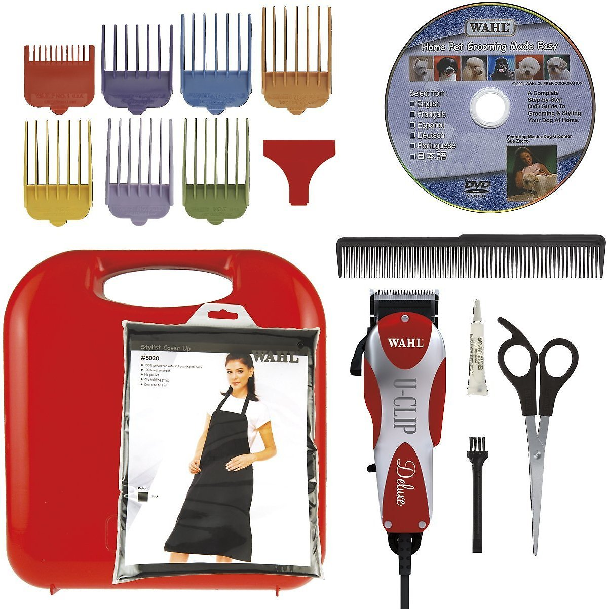 wahl deluxe u clip dog cat clipper kit red chewy com
