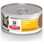 Hill's Science Diet Adult Urinary Hairball Control Savory Chicken Entree Canned Cat Food, 5.5-oz, case of 24