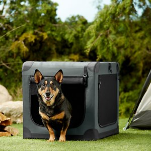 Frisco Indoor & Outdoor 3-Door Collapsible Soft-Sided Dog Crate, Dark Gray, 26 inch; **Remember to measure your pet for the paw-fect fit.** The Frisco Soft Crate Indoor & Outdoor Pet Home is the perfect on-the-go pet crate. Setup is quick and easy with no tools required, and it easily folds for compact storage. Three zippered doors keep your pet accessible and allow for convenient placement in your home, car or wherever the day takes you. You can secure the zippers shut with locking clips, and the side mesh doors have straps to hold the doors open when you roll them up. This crate is made to last with a sturdy steel frame, water-resistant base and durable fabric that can be hand-washed. The Frisco Soft Crate is available in sizes from 21 to 42 inches long to accommodate pets up to 85 pounds. All sizes are lightweight and feature a carrying handle—and the smallest crate also features a shoulder strap for easy transport when your pup's not using it. Add a Frisco Crate Mat Pet Bed to make a super comfy home for your pet.
