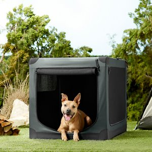 Frisco Indoor & Outdoor 3-Door Collapsible Soft-Sided Dog Crate, Dark Gray, 42 inch; **Remember to measure your pet for the paw-fect fit.** The Frisco Soft Crate Indoor & Outdoor Pet Home is the perfect on-the-go pet crate. Setup is quick and easy with no tools required, and it easily folds for compact storage. Three zippered doors keep your pet accessible and allow for convenient placement in your home, car or wherever the day takes you. You can secure the zippers shut with locking clips, and the side mesh doors have straps to hold the doors open when you roll them up. This crate is made to last with a sturdy steel frame, water-resistant base and durable fabric that can be hand-washed. The Frisco Soft Crate is available in sizes from 21 to 42 inches long to accommodate pets up to 85 pounds. All sizes are lightweight and feature a carrying handle—and the smallest crate also features a shoulder strap for easy transport when your pup's not using it. Add a Frisco Crate Mat Pet Bed to make a super comfy home for your pet.