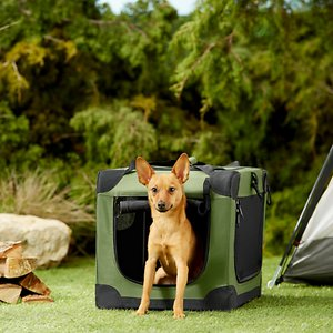 Frisco Indoor & Outdoor 3-Door Collapsible Soft-Sided Dog Crate, Khaki Green, 21 inch; **Remember to measure your pet for the paw-fect fit.** The Frisco Soft Crate Indoor & Outdoor Pet Home is the perfect on-the-go pet crate. Setup is quick and easy with no tools required, and it easily folds for compact storage. Three zippered doors keep your pet accessible and allow for convenient placement in your home, car or wherever the day takes you. You can secure the zippers shut with locking clips, and the side mesh doors have straps to hold the doors open when you roll them up. This crate is made to last with a sturdy steel frame, water-resistant base and durable fabric that can be hand-washed. The Frisco Soft Crate is available in sizes from 21 to 42 inches long to accommodate pets up to 85 pounds. All sizes are lightweight and feature a carrying handle—and the smallest crate also features a shoulder strap for easy transport when your pup's not using it. Add a Frisco Crate Mat Pet Bed to make a super comfy home for your pet.