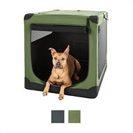 Frisco Indoor & Outdoor Soft Dog Crate, Khaki Green, 42-in