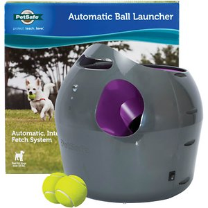 PetSafe Automatic Ball Launcher Dog Toy; The PetSafe Automatic Ball Launcher is an automatic fetching machine that can be used by dog and owner or just the dog. The automatic launcher features make independent play easy and fun, while multiple safety features protect people and pets. The launcher was designed with three motion sensors for optimal safety. A sensor located in the front keeps pets and people safe while walking in front of the launcher, while a sensor in the launch pocket keeps hands and snouts safe. There is an additional sensor to detect when a ball is in the launch pocket to initiate play. Another safety feature allows the dog to play for a full 15 minutes before going into a 15 minute rest mode so the dog does not overwork themselves. There are 6 angle and 9 distance settings to really mix up playtime or to create indoor and outdoor use. Play a short game of indoor fetch at 8 feet or go outside and stretch those legs at 30 feet. Different angles make it extra fun! Plug it in or use 6 D batteries for portable play. The PetSafe Automatic Ball Launcher is safe, fun and totally versatile! Two standard-sized tennis balls, power cord, training instructions and user manual included.