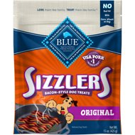 Blue Buffalo Sizzlers with Real Pork Bacon-Style Dog Treats, 15-oz bag