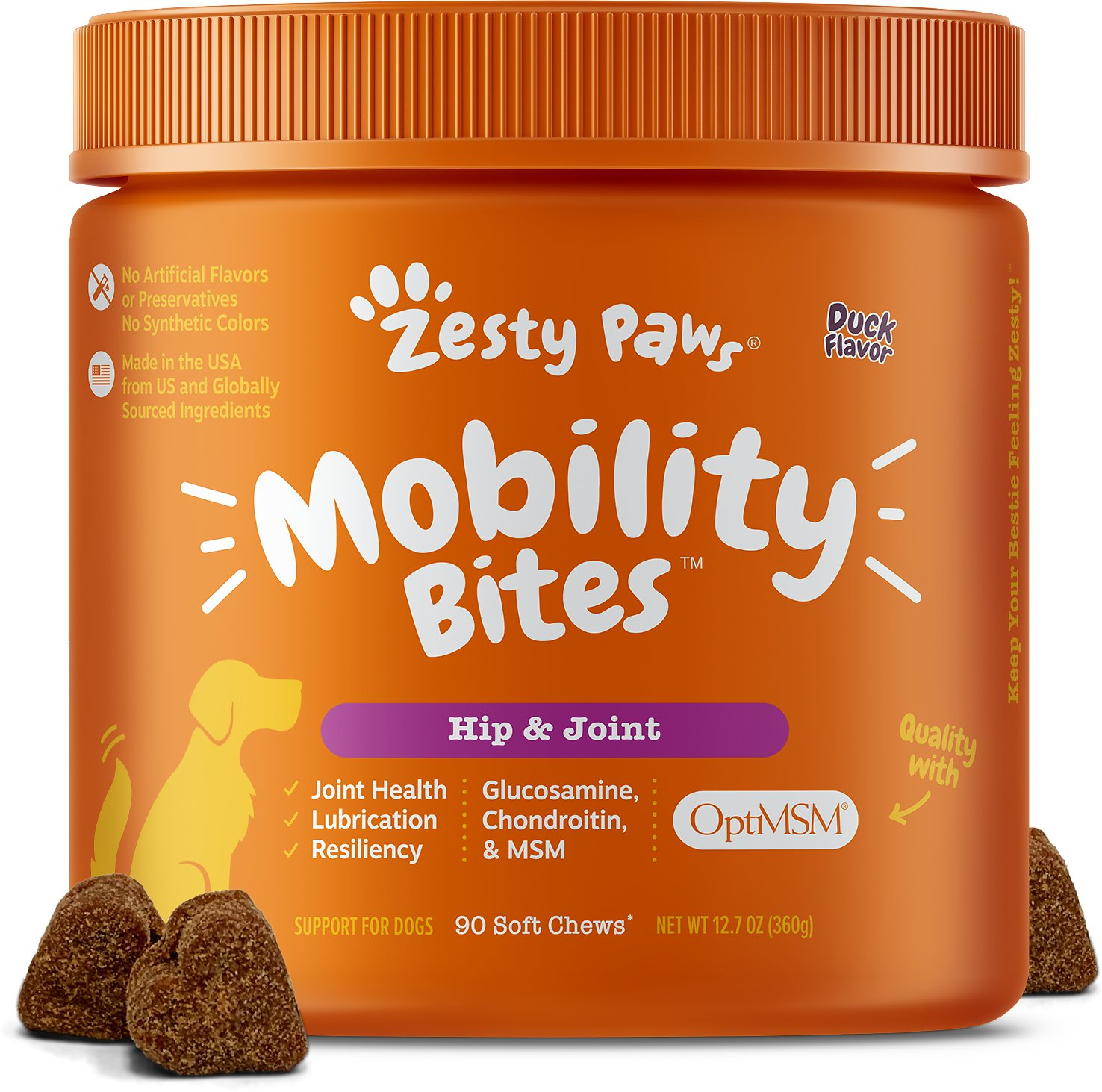 Zesty Paws Mobility Bites Hip & Joint Support Duck Flavor Chews with  Glucosamine, Chondroitin & MSM for Dogs, 90 count