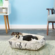 OxGord 1800's Newspaper Short Velvet Pet Bed, Small
