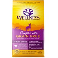 Wellness Grain-Free Complete Health Small Breed Adult Deboned Turkey, Chicken Meal & Salmon Meal Recipe Dry Dog Food, 11-lb bag