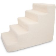 Best Pet Supplies Foam Pet Stairs, White Lambswool, 5-Step