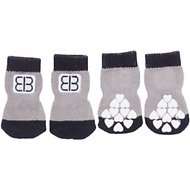 Petego Traction Control Indoor Dog Socks, Black/Gray, Medium