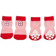 Petego Traction Control Indoor Dog Socks, Red/Pink, Medium