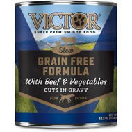 Victor Grain-Free Beef & Vegetables Entree in Gravy Canned Dog Food, 13.2-oz, case of 12