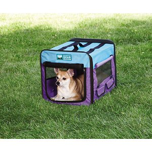Guardian Gear Single Door Collapsible Soft-Sided Dog Crate, Purple/Turquoise, 18 inch