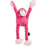 GoDog Crazy Tugs Chew Guard Monkey Dog Toy, Small, Pink