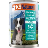 K9 Natural Grass-Fed Beef Feast with Hoki Oil Grain-Free Puppy Canned Dog Food, 13-oz, case of 12