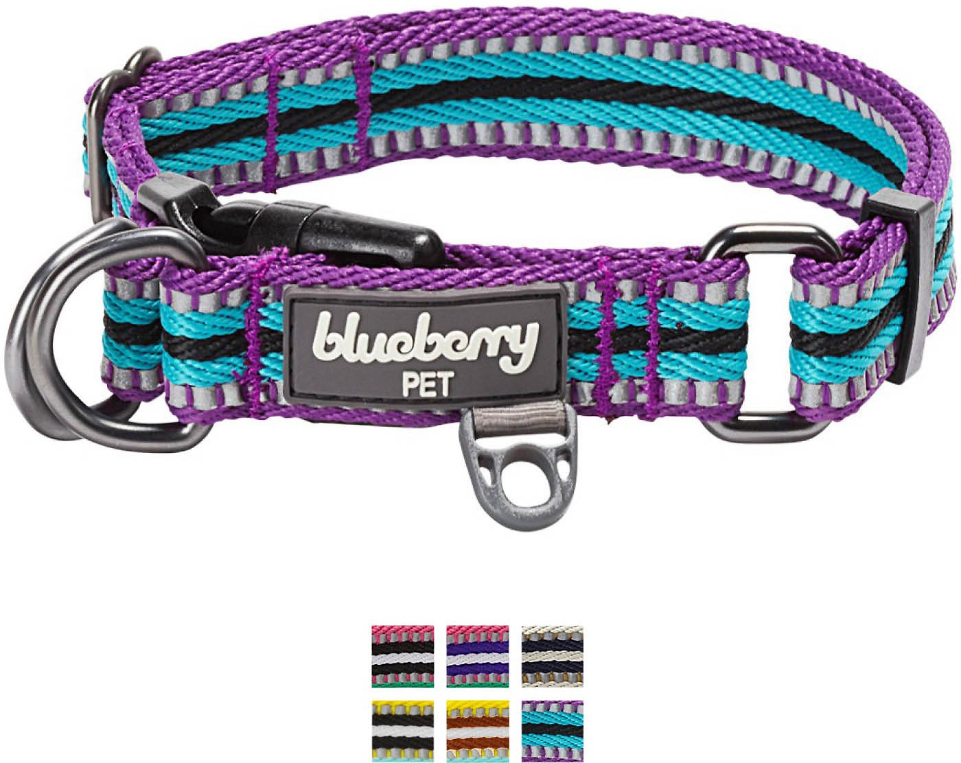 Blueberry Pet 3m Reflective Multi Colored Stripe Dog Collar Violet