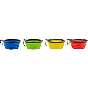 Mr. Peanut's Premium Collapsible Non-Skid Silicone Dog & Cat Bowls, 1.5-cup, 4 count