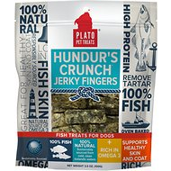 Plato Hundur's Crunch Fish Jerky Fingers Dog Treats, 3.5-oz