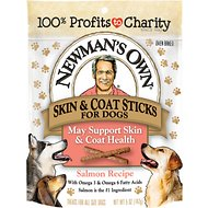 Newman's Own Salmon Skin & Coat Snack Sticks Dog Treats, 5-oz bag