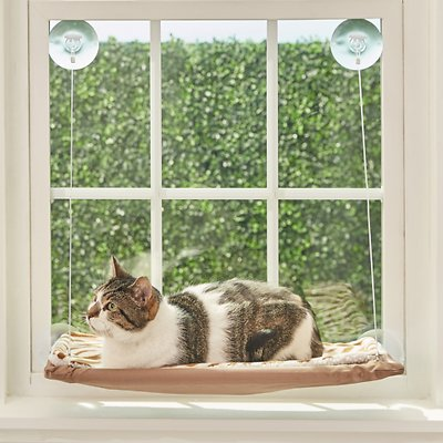 Oster Sunny Seat Window Mounted Cat Bed Brown