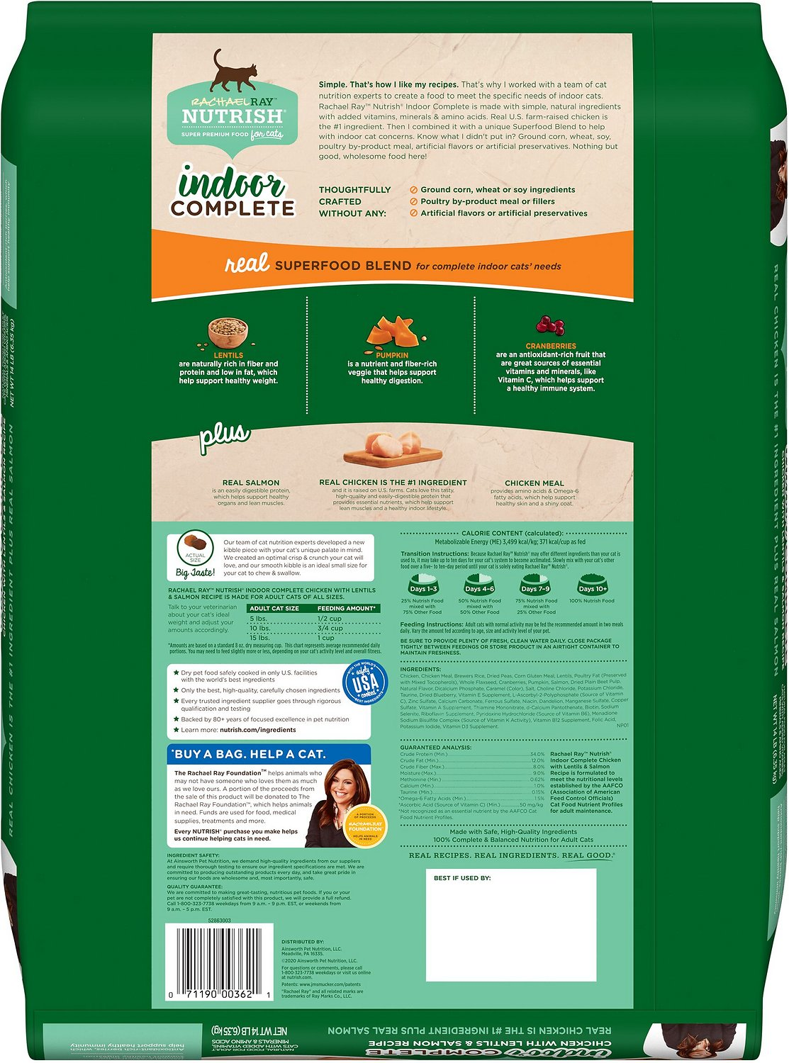 Rachael Ray Nutrish Indoor Complete Chicken With Lentils Salmon Recipe Natural Dry Cat Food