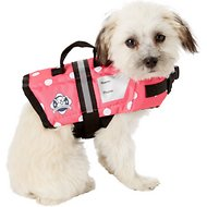 Paws Aboard Pink Polka Dot Dog Life Jacket, XX-Small