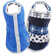 Zack & Zoey Reversible Nor'easter Dog Blanket Coat, Dark Blue, X-Small