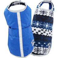 Zack & Zoey Reversible Nor'easter Dog Blanket Coat, Dark Blue, Small/Medium