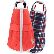 Zack & Zoey Reversible Nor'easter Dog Blanket Coat, Dark Red, Small/Medium