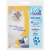 Soft Claws Nail Caps for Cats, 40 Count, Medium, Blue
