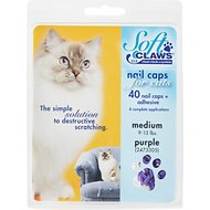 Soft Claws Nail Caps for Cats, 40 Count, Medium, Purple