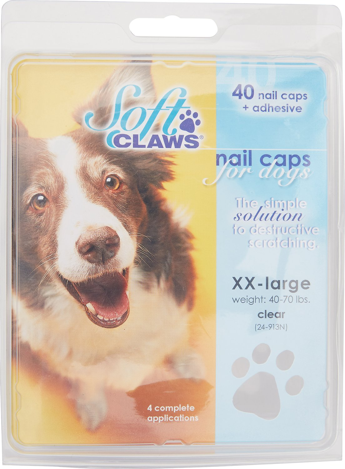 Soft Claws Nail Caps for Dogs, 40 Count, XX-Large, Clear - Chewy.com