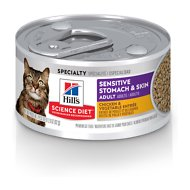 Hill's Science Diet Adult Sensitive Stomach & Skin Chicken & Vegetable Entrée Canned Cat Food, 2.9-oz, case of 24