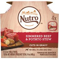 Nutro Simmered Beef & Potato Stew Cuts in Gravy Adult Dog Food Trays, 3.5-oz, pack of 4
