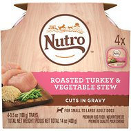 Nutro Roasted Turkey & Vegetable Stew Cuts in Gravy Adult Dog Food Trays, 3.5-oz, pack of 4