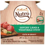 Nutro Savory Lamb & Vegetable Stew Cuts in Gravy Adult Dog Food Trays, 3.5-oz, pack of 4