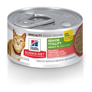 Hill's Science Diet Adult 7+ Senior Vitality Salmon & Vegetable Stew Canned Cat Food, 2.9-oz, case of 24