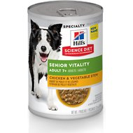 Hill's Science Diet Adult 7+ Youthful Vitality Chicken & Vegetable Stew Canned Dog Food, 12.5-oz, case of 12