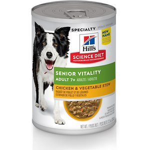 Hill's Science Diet Adult 7+ Senior Vitality Chicken & Vegetable Stew Canned Dog Food, 12.5-oz, case of 12
