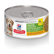Hill's Science Diet Adult 7+ Small & Mini Senior Vitality Chicken & Vegetable Stew Canned Dog Food, 5.5-oz, case of 24