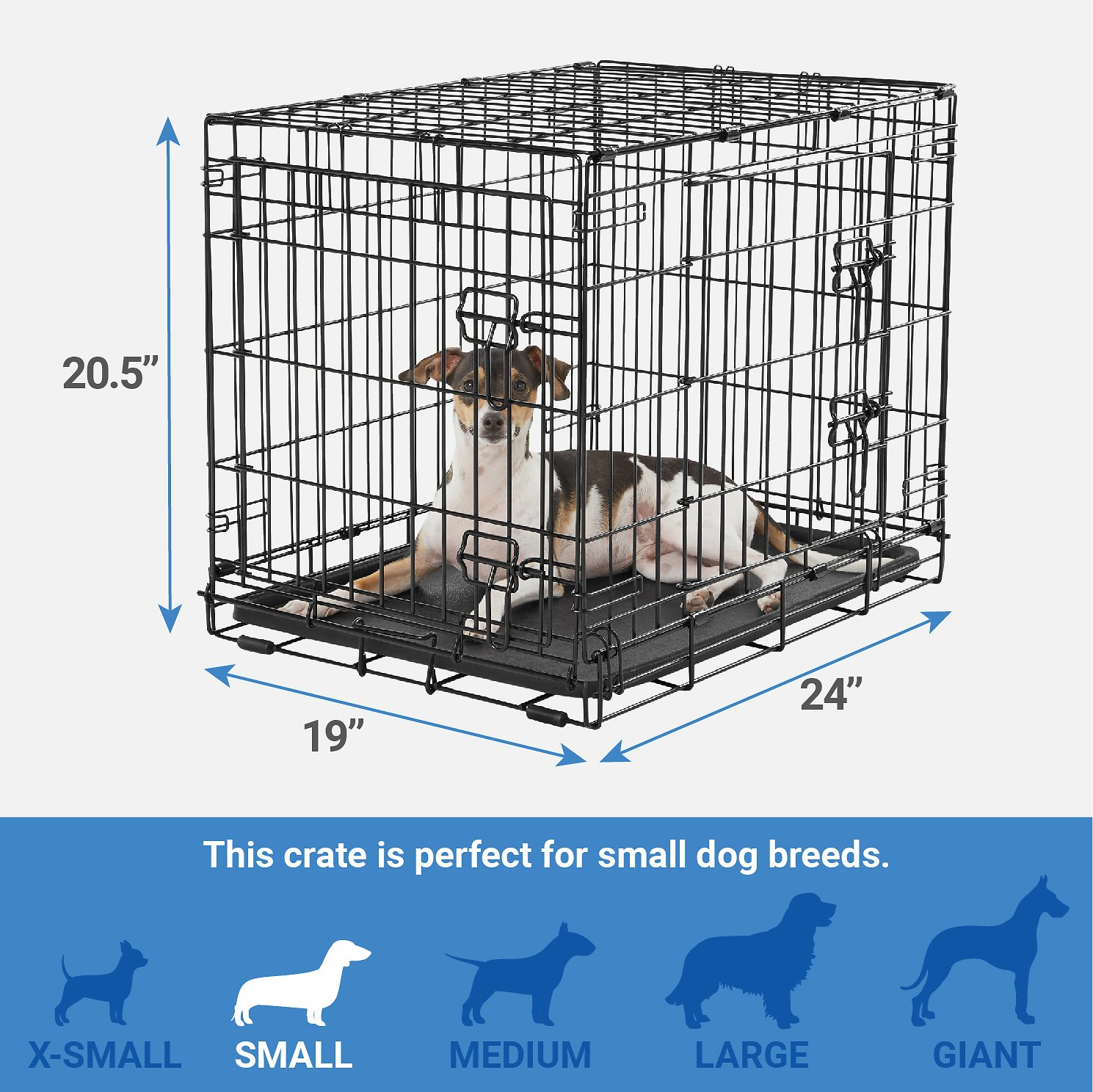 Frisco heavy duty double door dog crate 24 in for Double door with dog door