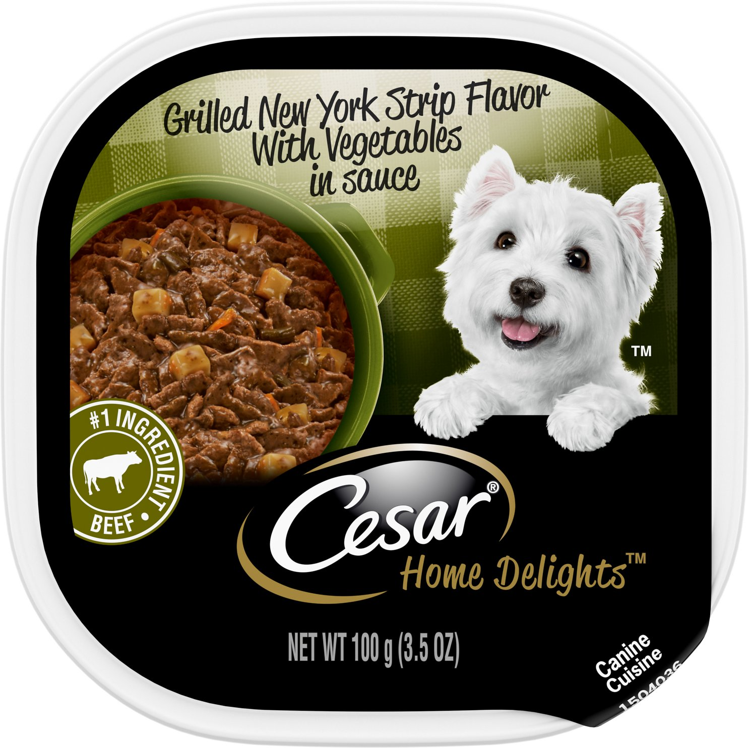 Cesar Tray Dog Food Grilled New York Strip Flavor with Vegetables in Sauce