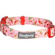Blueberry Pet Floral Prints Dog Collar, Floral Rose Baby Pink, X-Small